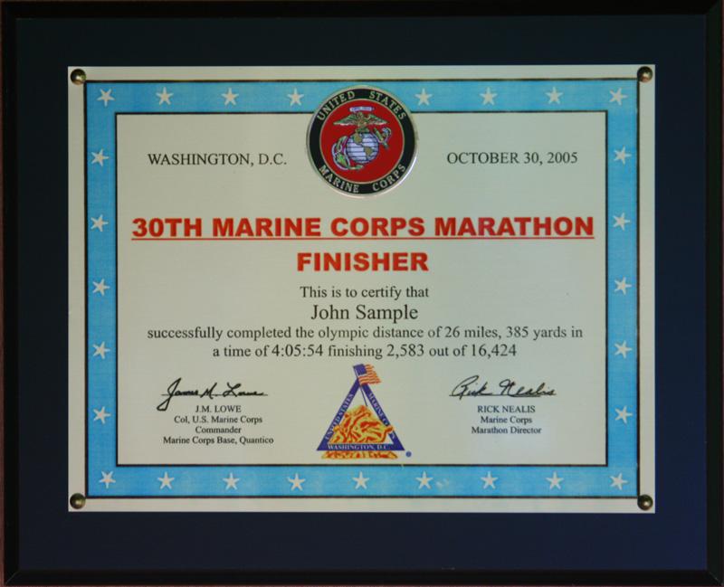 2014 Marine Corps Marathon Plaques Amp Frames Fond